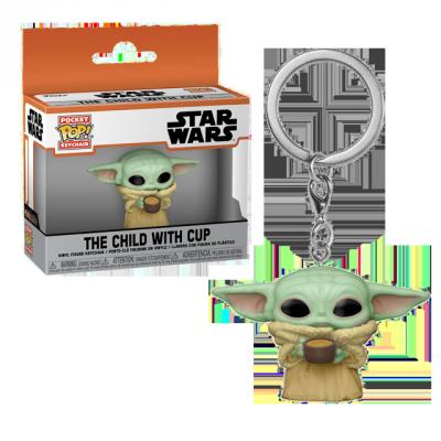 Pocket POP Baby Yoda s hrníčkem - přívěsek na klíče